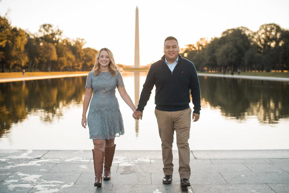 Couple walking toward camera