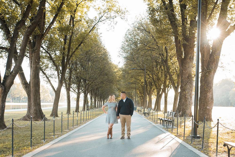 Couple on sidewalk in Washington DC