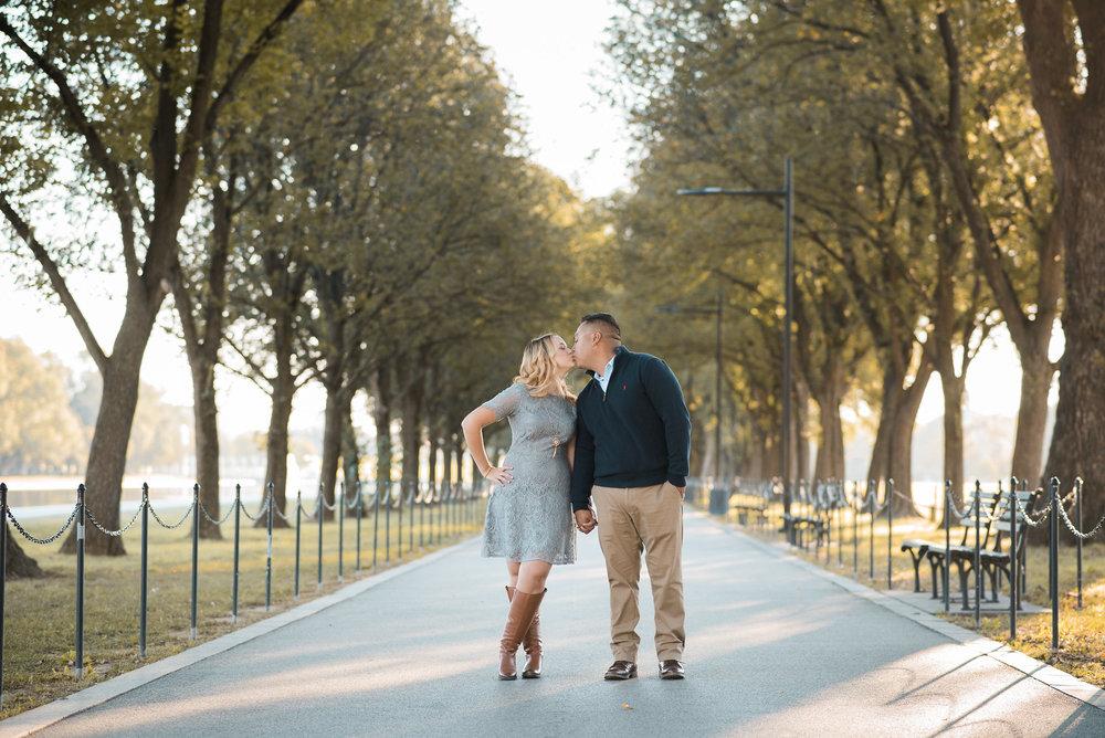 Couple kissing on Washington DC sidewalk