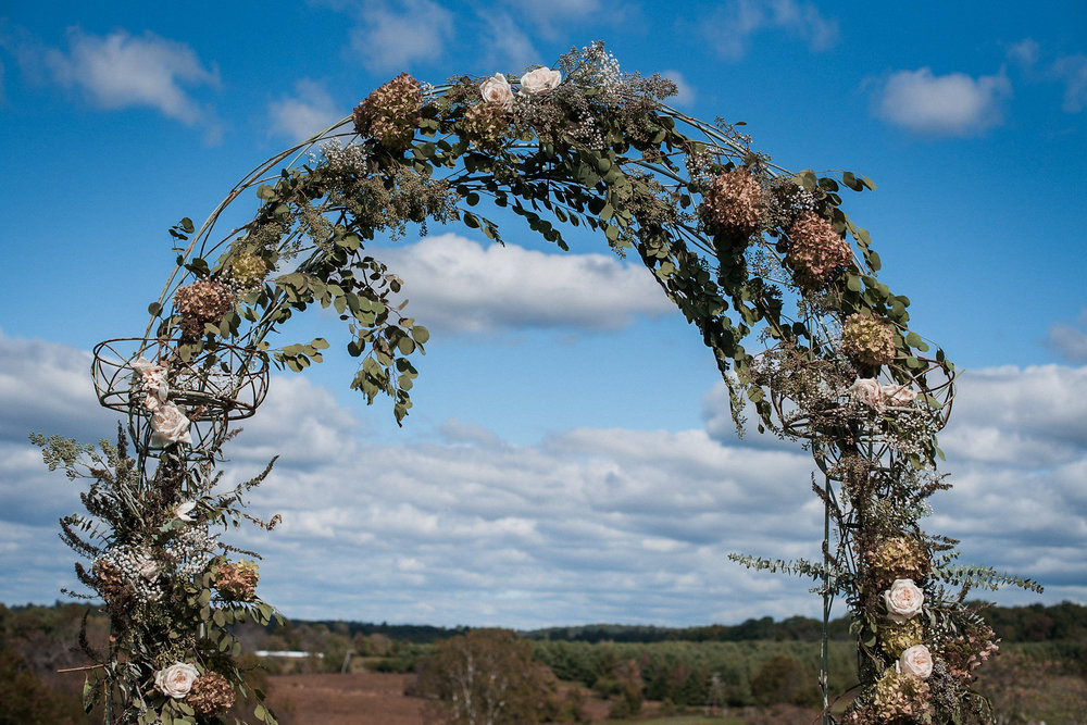 Wedding arch with blue sky