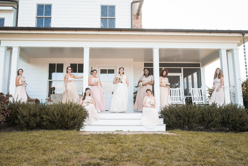 Bridal party posing on porch
