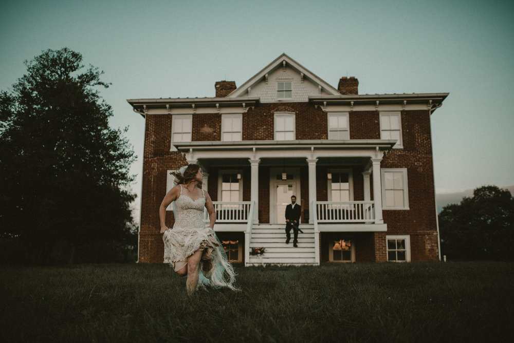 Bride running from murderer