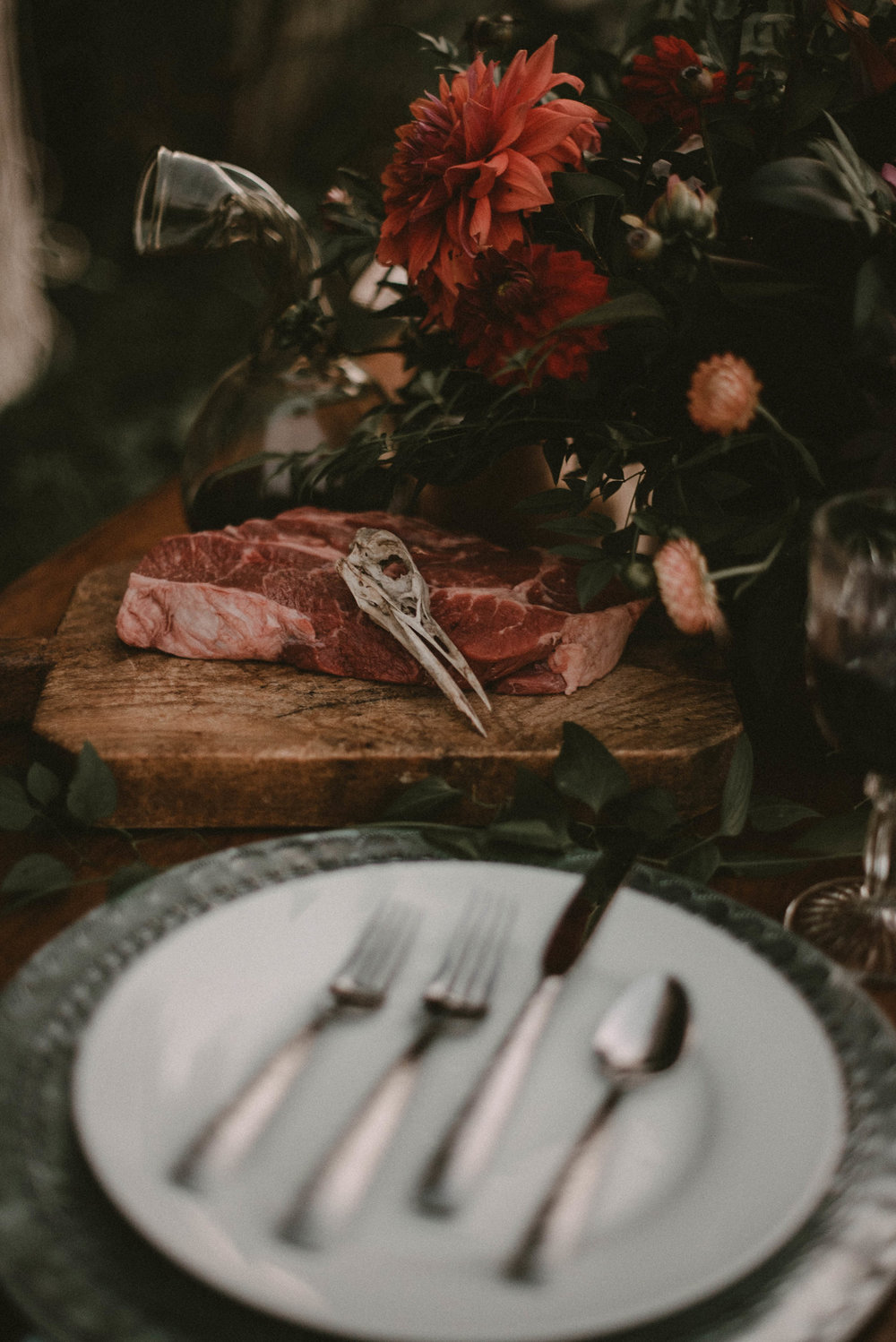 Raw meat on the wedding table