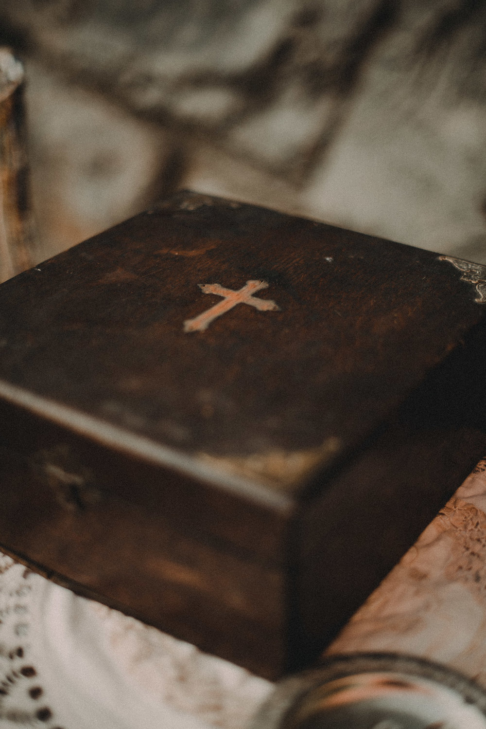 Old and wooden religious box