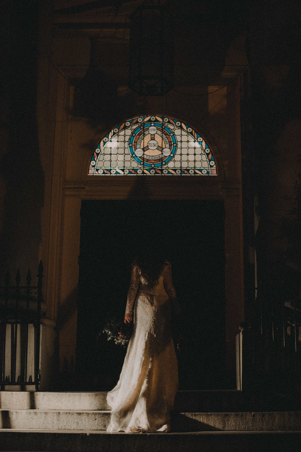 Bride approaching church door
