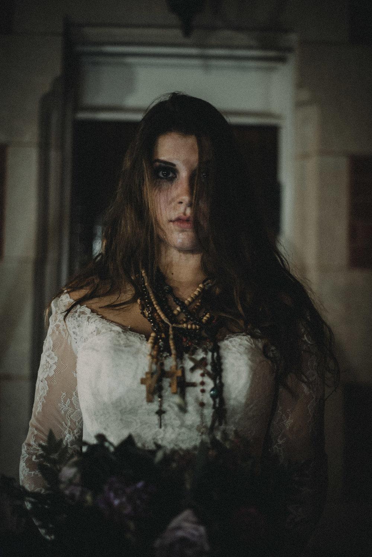 Bride's face in moonlight