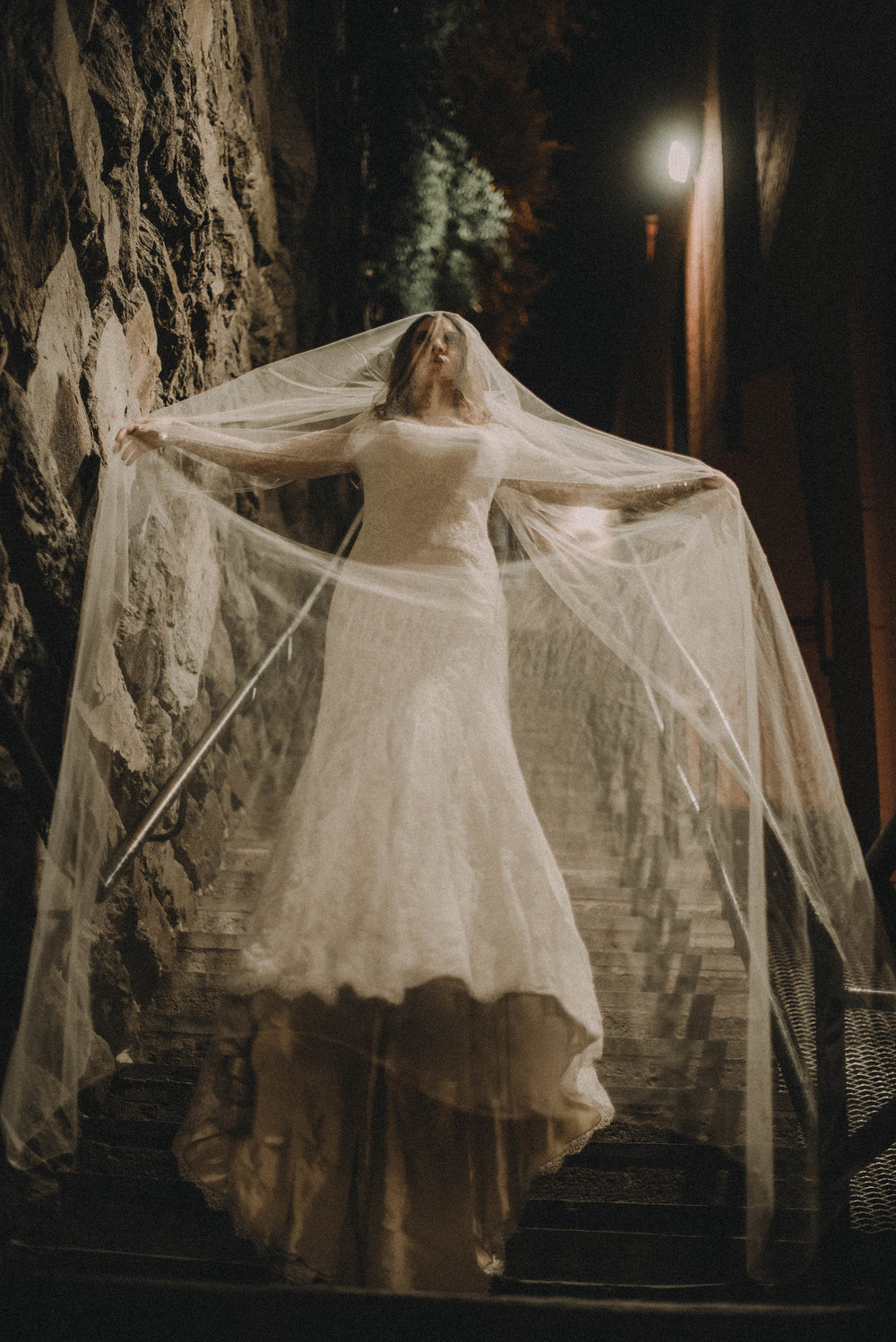 Bride floating down stairs