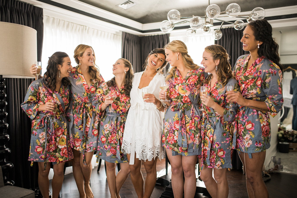 Bride and bridesmaids in matching robes