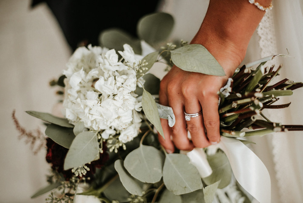 Bride's hand around bouquet
