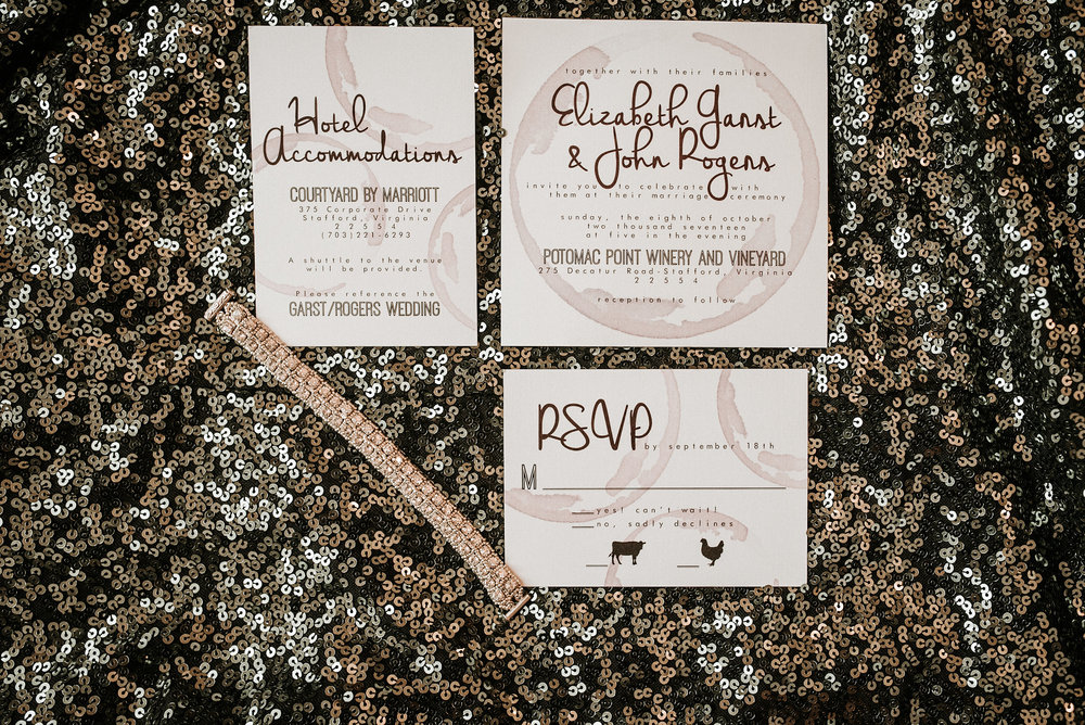 Invitations on sparkly dress
