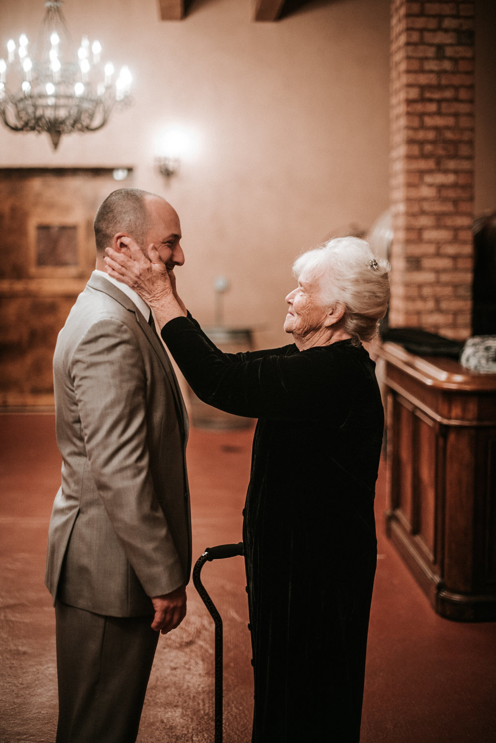 Grandmother seeing groom