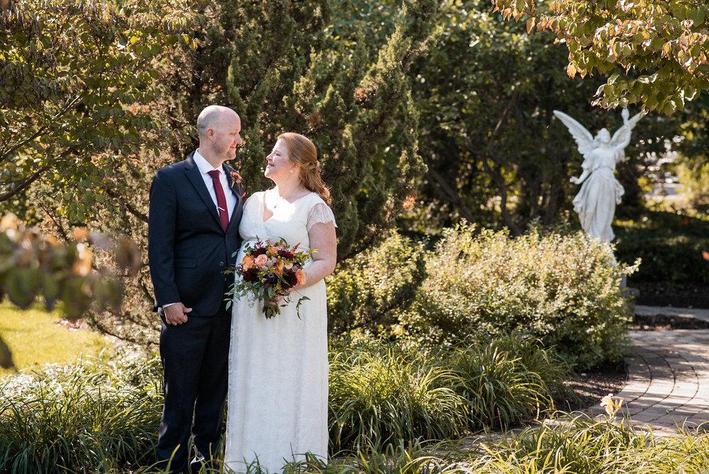 Couple in church garden