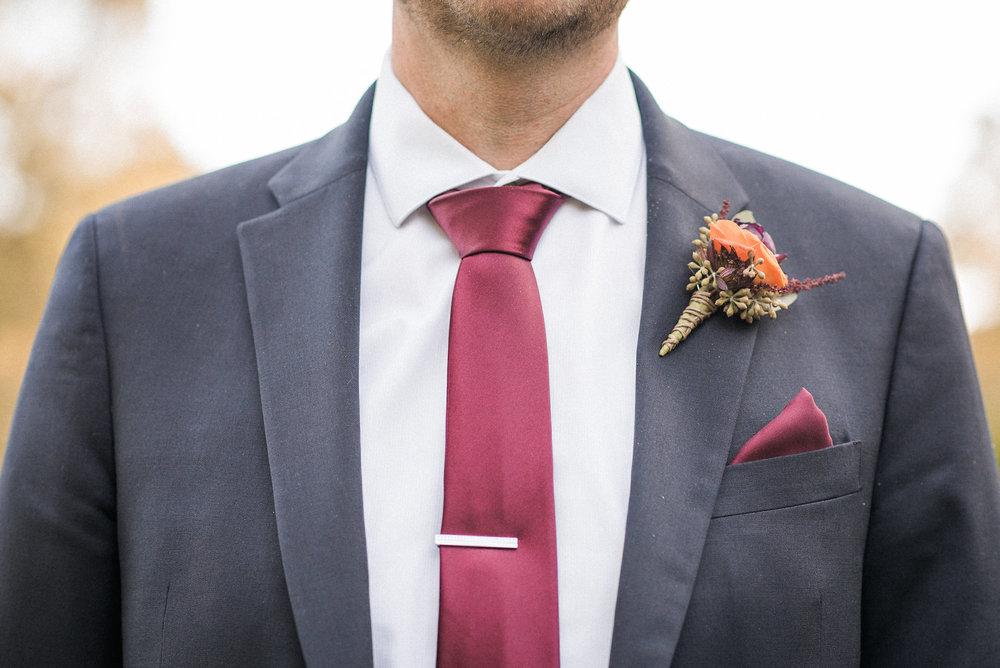 Closeup of groom's tie