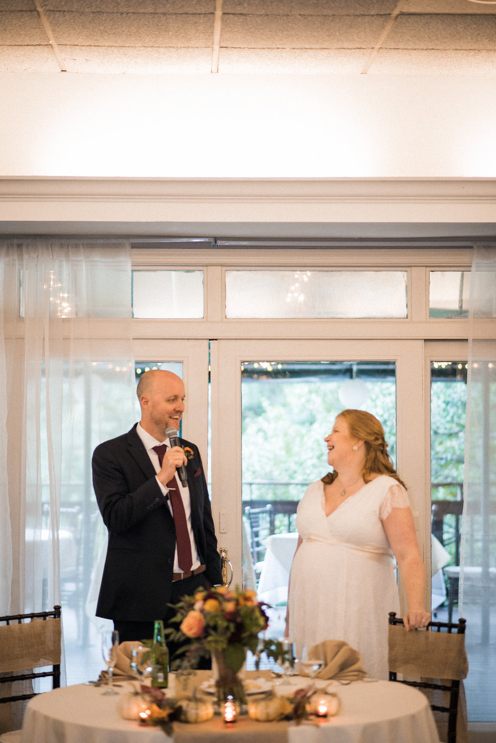 Bride and groom making speech
