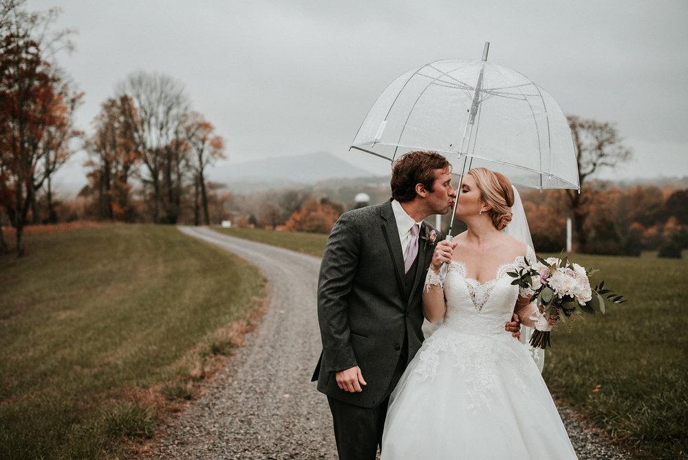 Bride and groom kissing under umbrella
