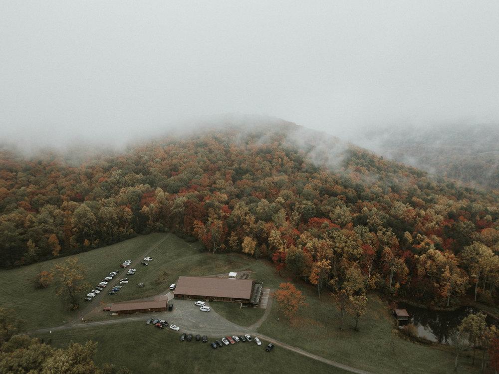 aerial drone photo of Braeloch on Glenburn Farms wedding venue