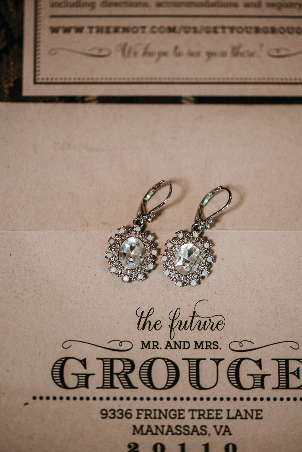 Wedding invitation with earrings