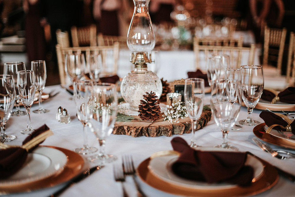 Rustic winter centerpieces