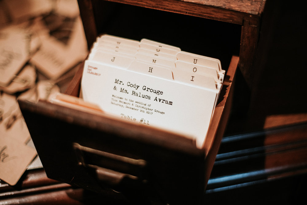 Card catalogue for place cards at wedding