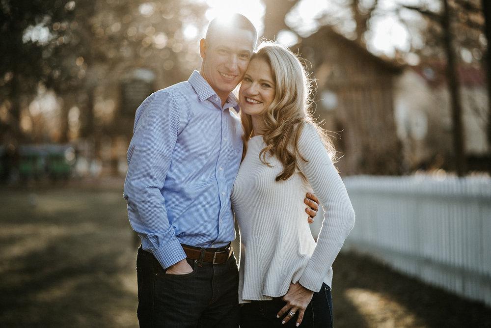 Couple posing in sunlight