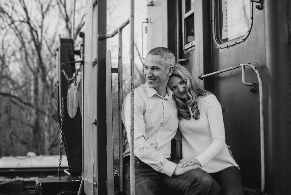 Black and white photo in caboose