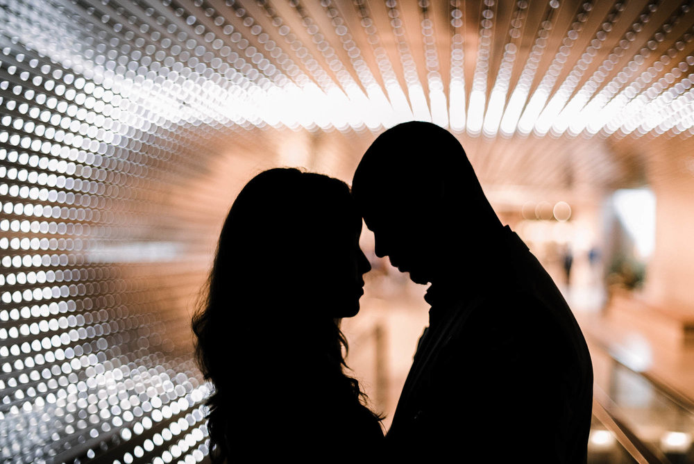 Couple silhouette in tunnel