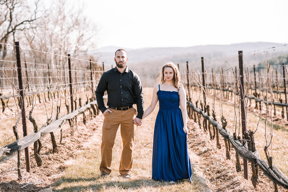 Couple holding hands in vineyard