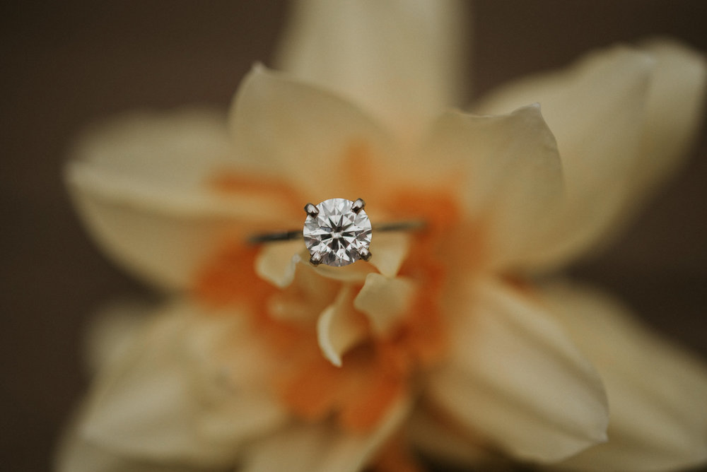 Engagement ring in daffodil
