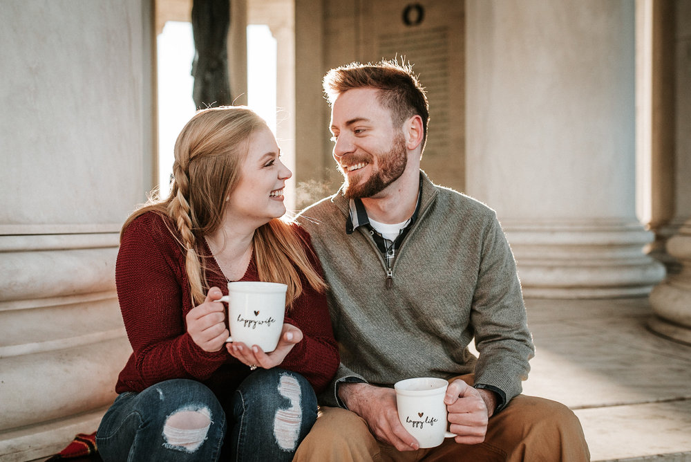 Couple sharing glance and coffee