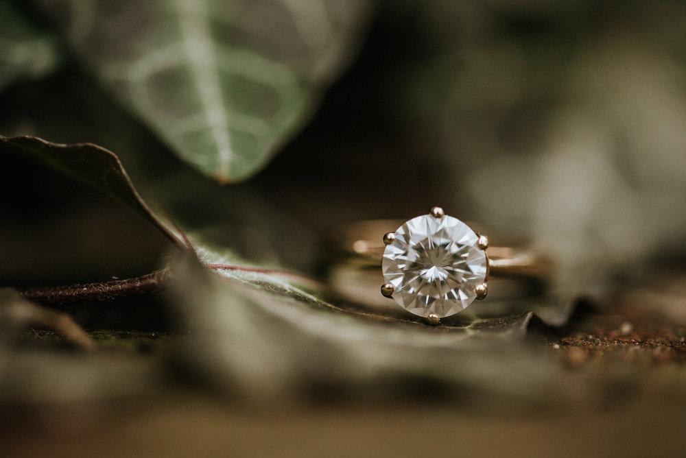 Engagement ring under ivy leaf