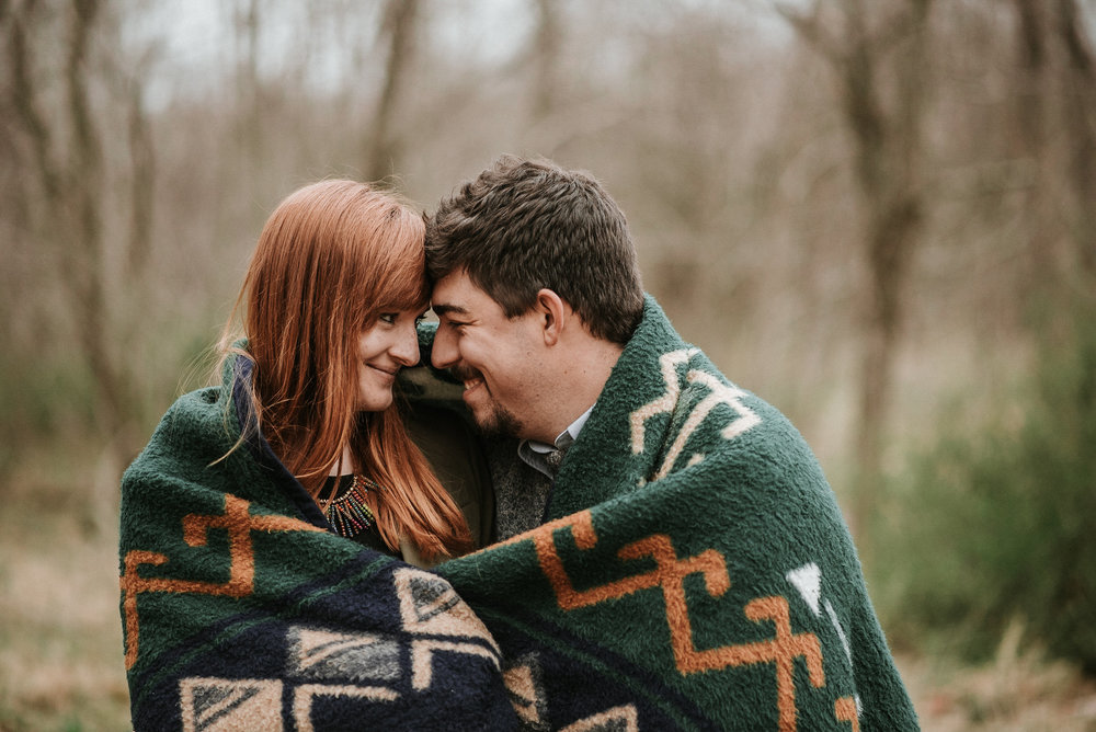 Couple cuddled up in blanket