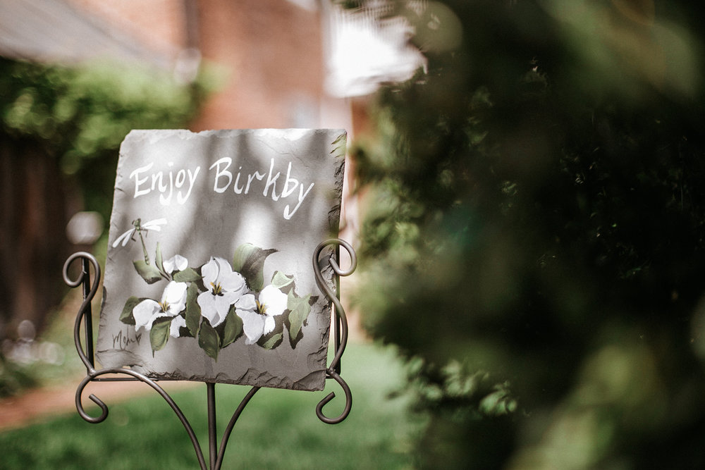 Garden sign at wedding venue