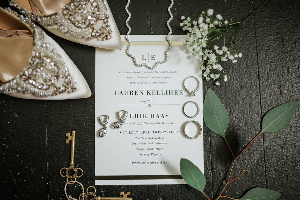 Wedding invitation with jewelry and shoes