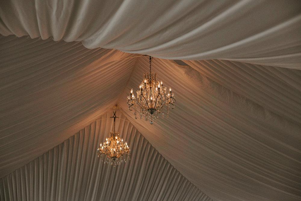Chandeliers in tent