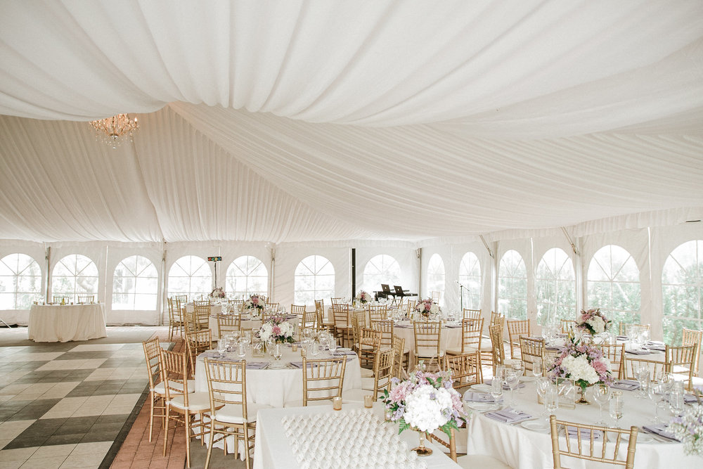 Wedding venue under a tent
