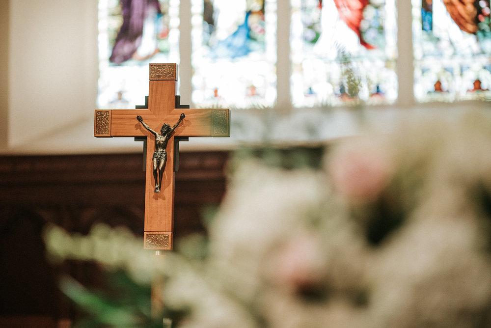 Crucifix in church during wedding