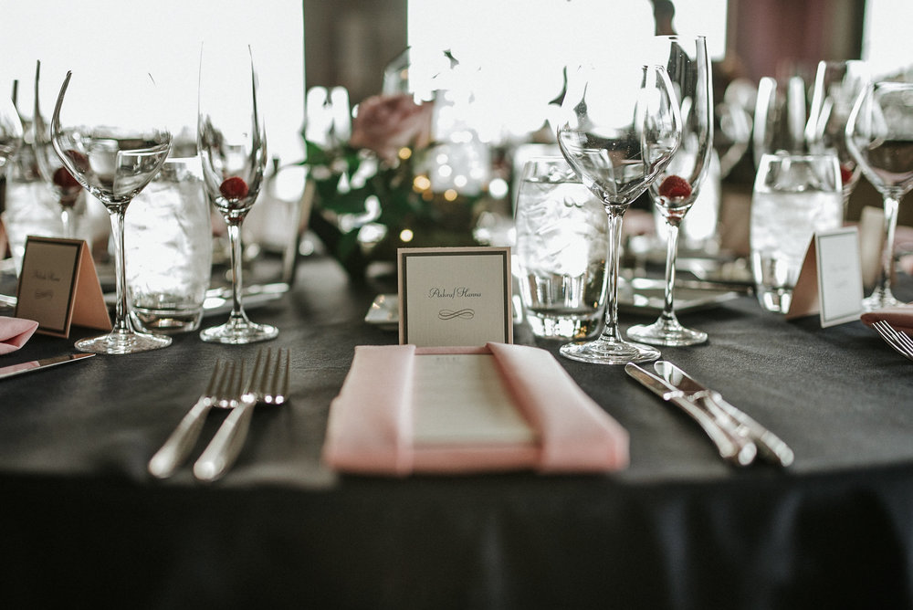 Table setting for elegant wedding