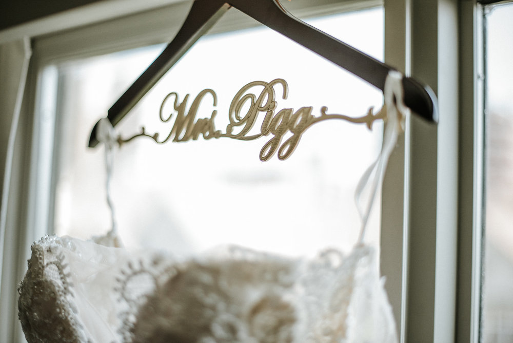 Close up of wedding dress on hanger