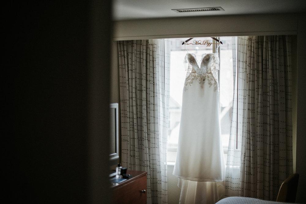 Wedding dress seen across a room