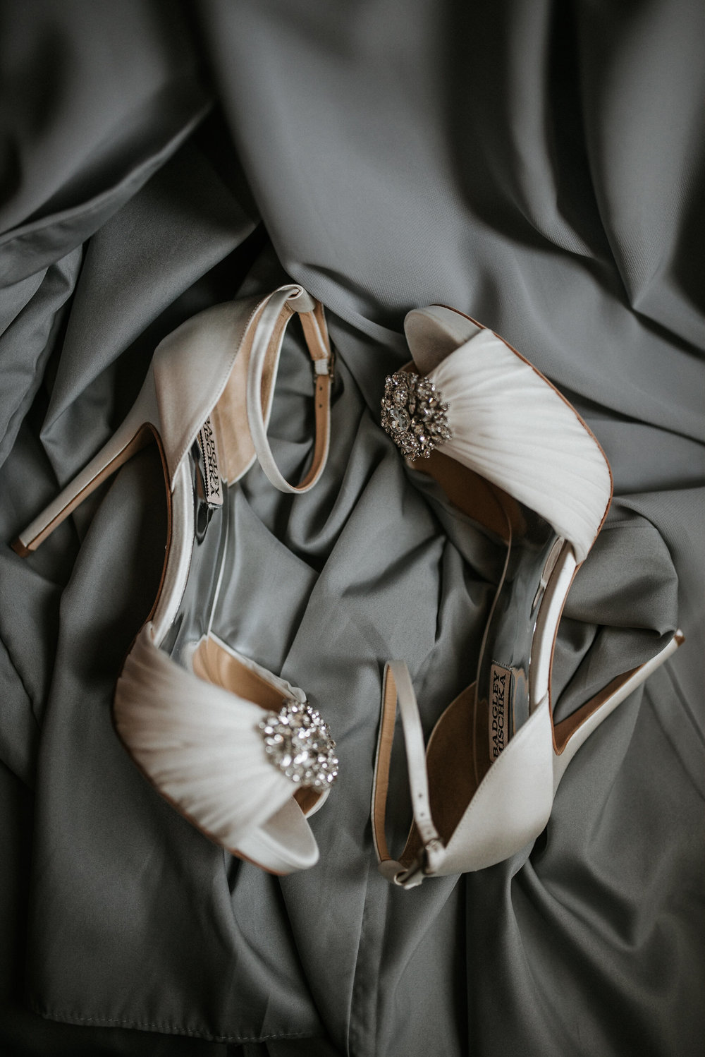 Bridal shoes on sheets