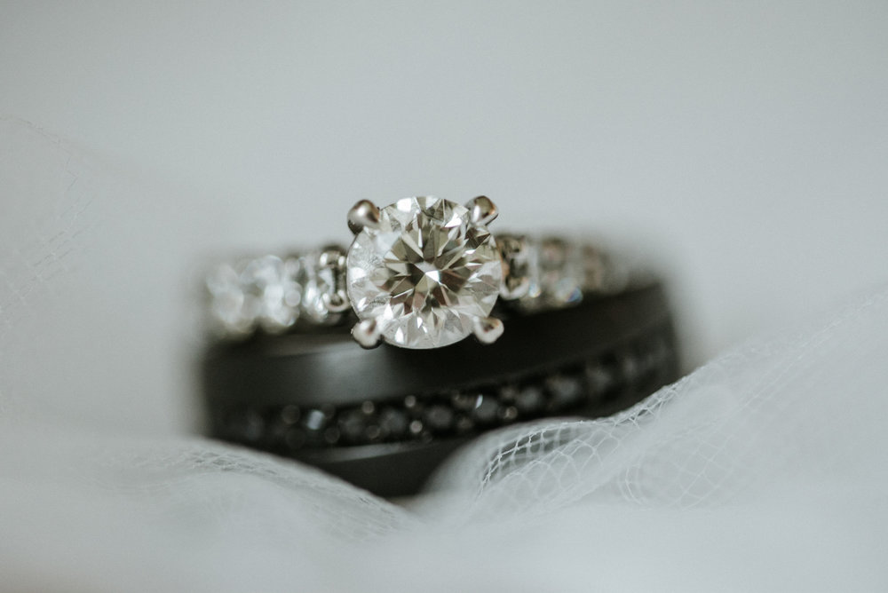 Wedding rings on veil