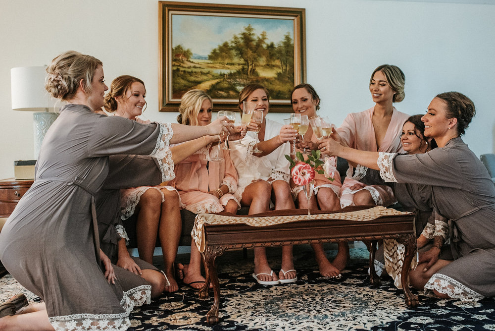 Bridesmaids champagne toast