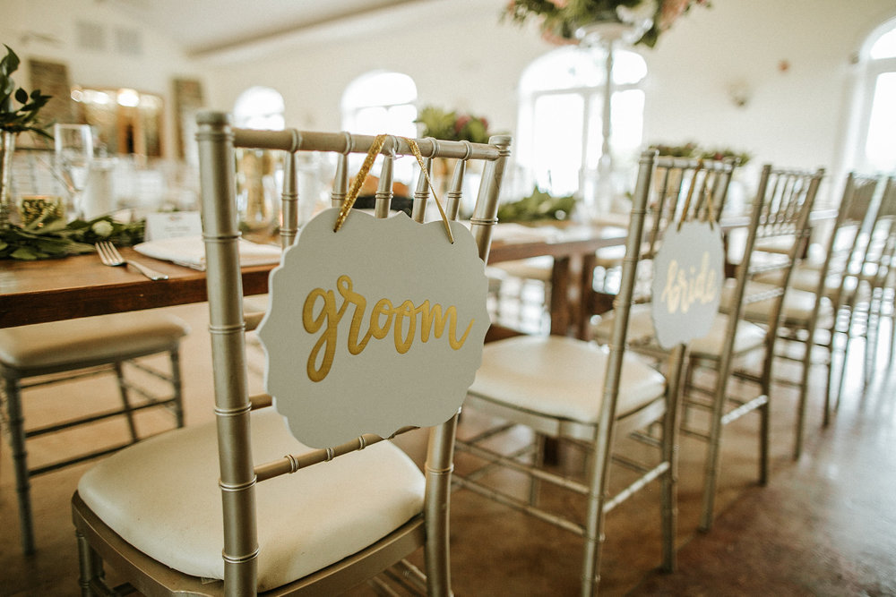 Groom and bride's seats