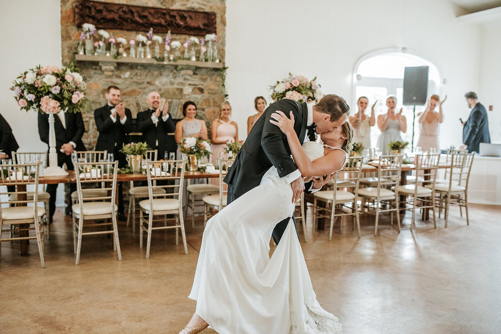 Bride and groom kissing during dance