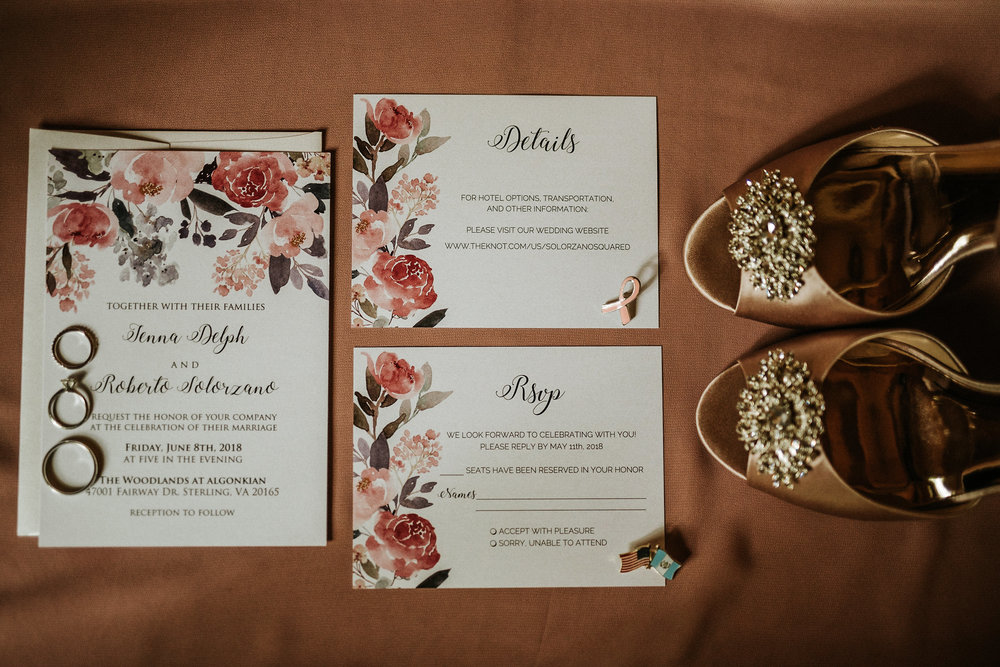 Bride shoes and invitations