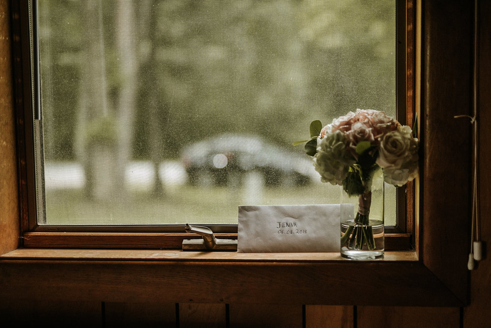 Letter to bride on windowsill
