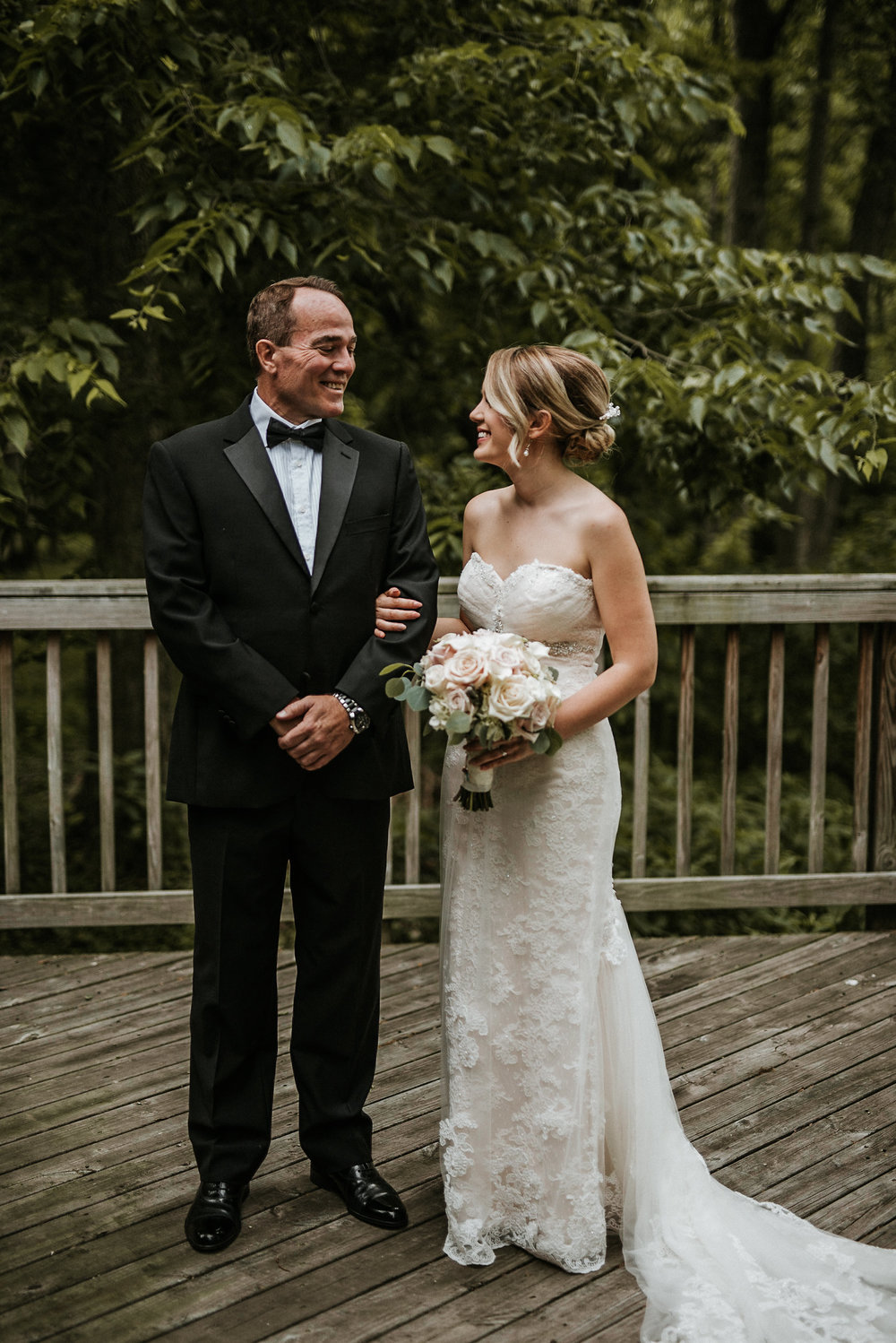 Bride and father of the bride before wedding