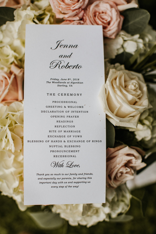 Wedding program and flowers