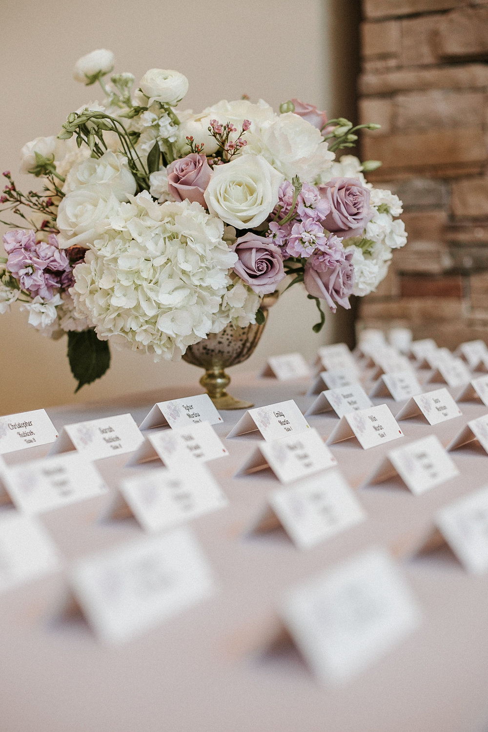 Seating cards at wedding
