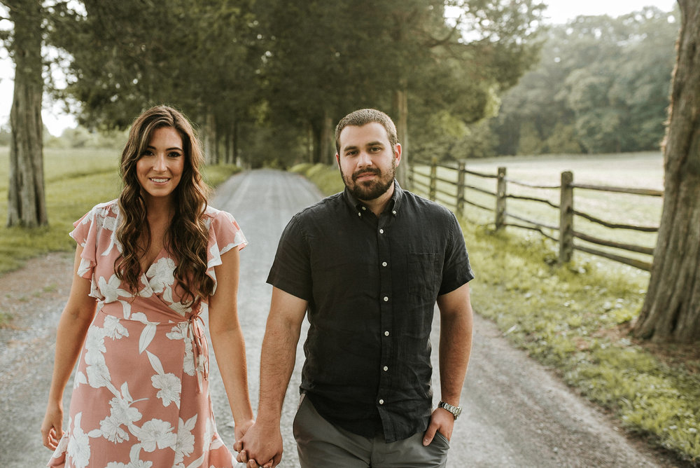 Country road engagement photo